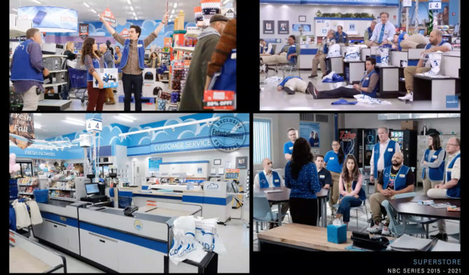 Compilation of photos from the set of Superstore