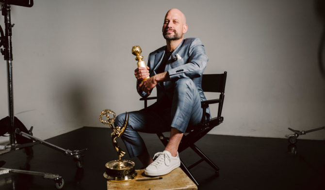 Toronto Film School's president Andrew Barnsley with Emmy and Golden Globe Award trophies